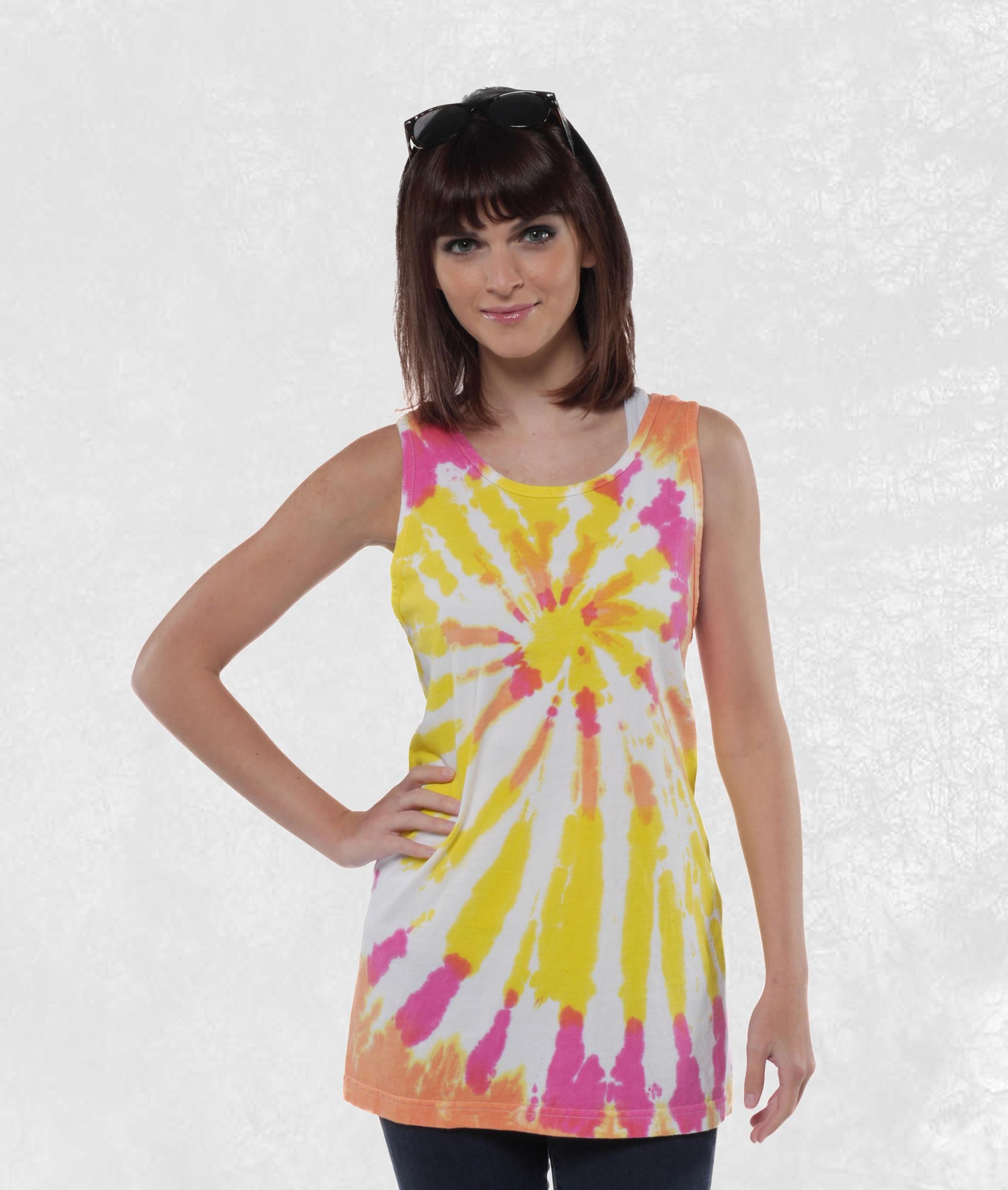 Neon Summer Sunset Tie Dye Tank Top