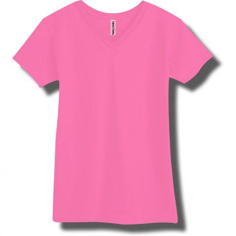 Neon Pink V-Neck T-Shirt